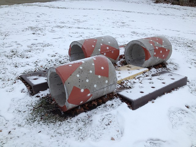 "Public Art. An abstract sculpture of painted concrete and wood, on the lawn of The Evanston Art Center, ""NOT HERE, THERE!"" 2014, by Robert Fields."