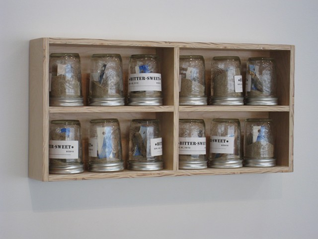 Abstract wall sculpture. Box-shelf with metal screw-lid glass jars, labeled and filled with sand, wood and paper.