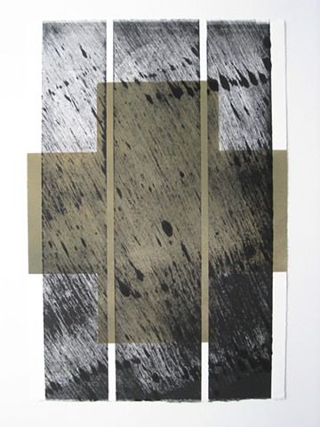 Art, work on paper, wood relief mono print over sprayed enamel on Rives BFK paper, 2013, by Robert Fields