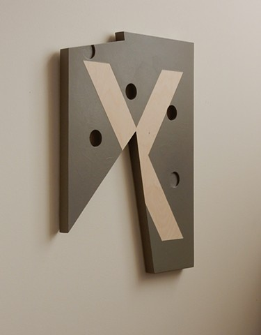 "A low-relief, painted wood, wall-hung sculpture done in the manner of post-minimalism, geometric abstraction. ""It's all the same."" Robert Fields, 2016, Chicago, IL."