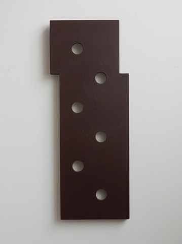 "A low-relief, painted wood, wall-hung sculpture done in the manner of post-minimalism, geometric abstraction. ""No, not now."" Robert Fields, 2016, Chicago, IL."
