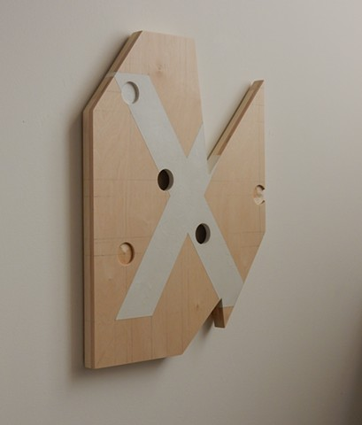 "A low-relief, painted wood, wall-hung sculpture done in the manner of post-minimalism, geometric abstraction. ""Better to stand in silence."" Robert Fields, 2016, Chicago, IL."