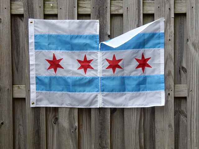Contemporary art, abstract, flag, minimalism, immigration issues, Chicago, resistance, noncompliance, President Trump, City of Chicago flag, Robert Fields, sculptor, 2017.