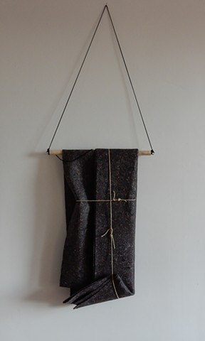 Contemporary, post-minimalist fiber sculpture, wall hung. Artist: Robert Fields, 2018