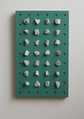 "A low-relief, painted wood, wall-hung sculpture done in the manner of post-minimalism, geometric abstraction. ""Would you notice?"" Robert Fields, 2016, Chicago, IL."