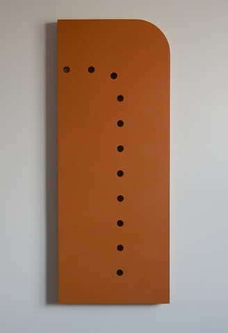 "A low-relief, painted wood wall-hung sculpture done in the manner of post-minimalism, geometric abstraction. ""Sit there. STOP IT!"" Robert Fields, 2016, Chicago, IL."