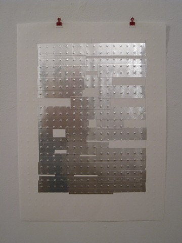 Art, work on paper, mono print, relief print, embossed, with metallic tape on Rives BFK paper, 2012, by Robert Fields