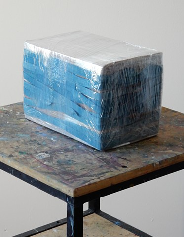 Contemporary, post-minimalist, sculpture, as an assemblage of mixed media (corrugated box, tapes, rubber bands and stretch film. Artist: Robert Fields, 2018