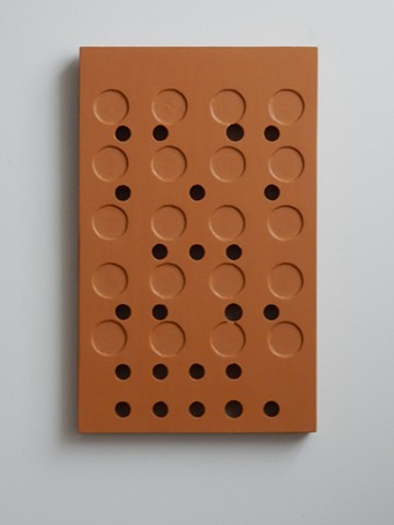 "A low-relief, painted wood, wall-hung sculpture done in the manner of post-minimalism, geometric abstraction. ""If not now, when?"" Robert Fields, 2016, Chicago, IL."