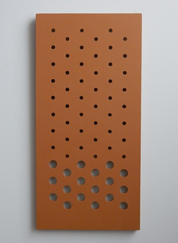"A low-relief, painted wood, wall-hung sculpture done in the manner of post-minimalism, geometric abstraction. ""...where the inside and outside meet."" Robert Fields, 2016, Chicago, IL."