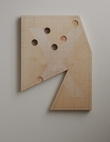 "A low-relief, painted wood, wall-hung sculpture done in the manner of post-minimalism, geometric abstraction. ""Wrong."" Robert Fields, 2016, Chicago, IL."