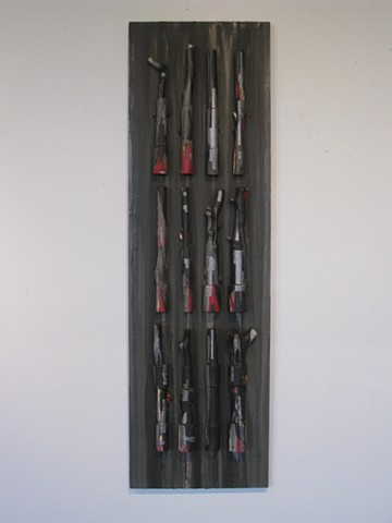 "Abstract wall sculpture, painted wood, ""For a brief moment I abandoned you..."" 2011, by Robert Fields."