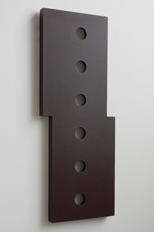 "A low-relief, painted wood, wall-hung sculpture done in the manner of post-minimalism, geometric abstraction. ""Here, it's all I got."" Robert Fields, 2016, Chicago, IL."