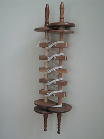 "Jewish ritual object, contemporary art, wood, cord, and metal fasteners, ""A Torah Placeholder,"" 2012, by Robert Fields."