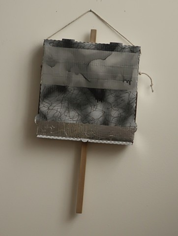 "Robert Fields, ""DOUBT."" 2019. 24 H x 13 W x 2-1/4 D inches. Acrylic and lacquer paint, ink, graphite and adhesive tape on corrugated paper board box with wood & twine. Contemporary, AB-Ex painting. Calling-out: Be a force for good."