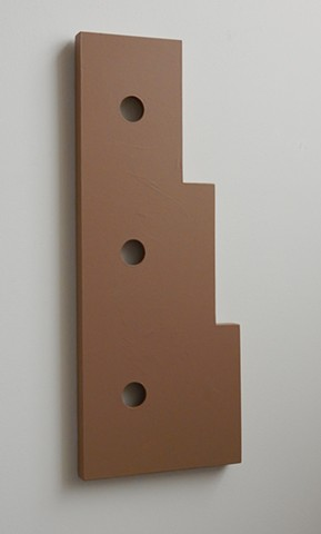 "A low-relief, painted wood, wall-hung sculpture done in the manner of post-minimalism, geometric abstraction. ""Here... Take care of it for me."" Robert Fields, 2016, Chicago, IL."