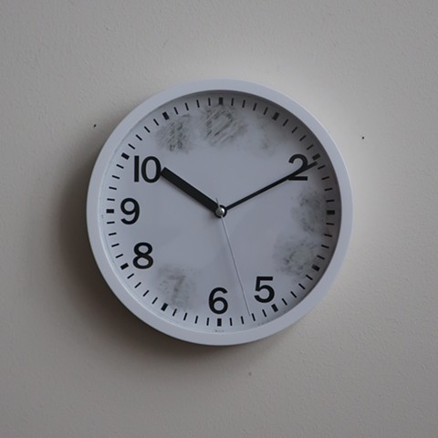 "Robert Fields, ""Forget it."" 2020. Kitchen Wall Clock. Battery not included. 9"" Dia. x 1-1/2"" D. Contemporary, conceptual art."