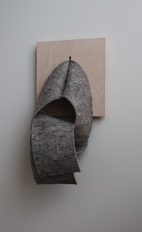 "Robert Fields, ""I've heard people using your songs as prayer…"" 2019. Mixed fiber felt with latex foam backing, and plywood panel. 24 H x 16 W x 12 D Inches. Contemporary sculptural art."