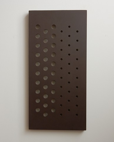 sculpture, minimalist, contemporary, geometric abstraction, monochromatic, painted wood panel, 32-1/2 x 15-3/4 x 1-1/4 inches, 2015, by Robert Fields
