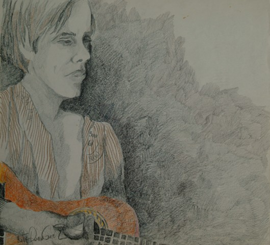 Portrait of Michael Cook with guitar, 1975