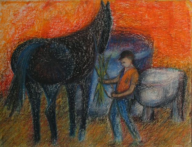 Boy With Black Horse, c. 1960's