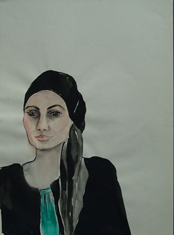 portrait of woman in black and aqua with scarf