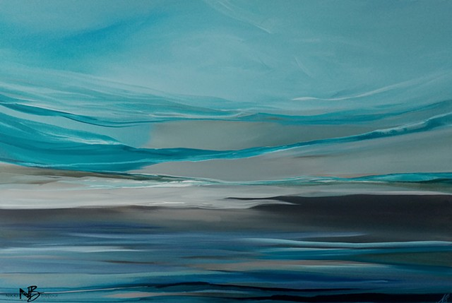Kelowna Abstract Artist blue teal grey