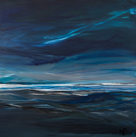 Kelowna Abstract Artist storm sea seascape dark art mood moody blues silver white painting abstract painting on canvas