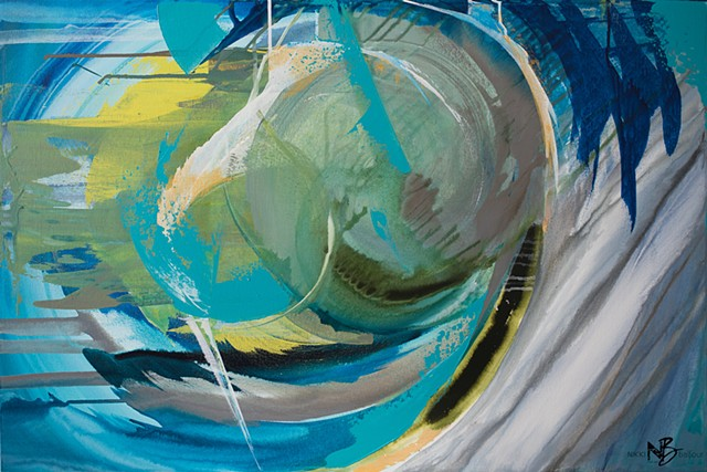 Kelowna Abstract Artist art green blue gold circles swirls expressive drip