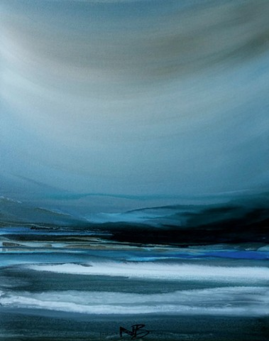 Kelowna abstract artist stormy blue ocean sea seascape surf art painting on canvas collection gallery