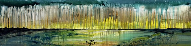 Kelowna Abstract Artist painting wetlands mountain lake drips