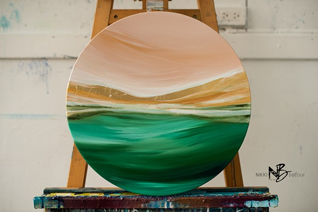 Kelowna Abstract Artist Round Canvas Peach Gold Green