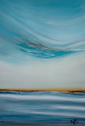 Kelowna Abstract artist teal turquoise blue gold ocean sea seascape surf art painting on canvas collection gallery