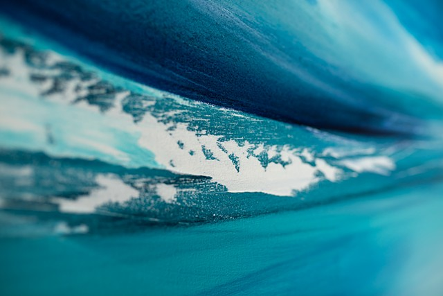 Kelowna abstract artist diptych large seascape ocean blue teal water artwork abstract soothing calming horizon sea kelowna