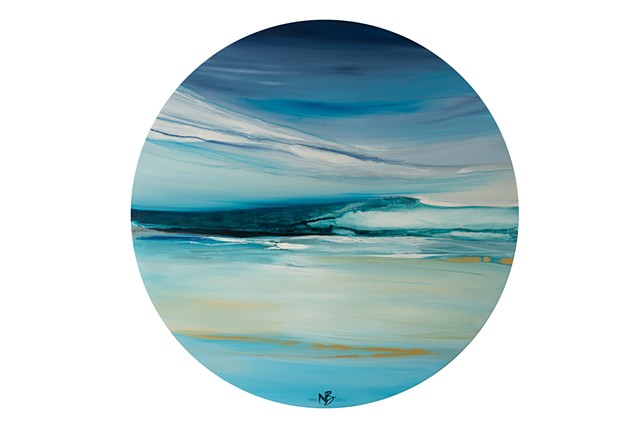 Kelowna abstract artist round canvas seascape ocean blue teal water artwork abstract soothing calming horizon sea