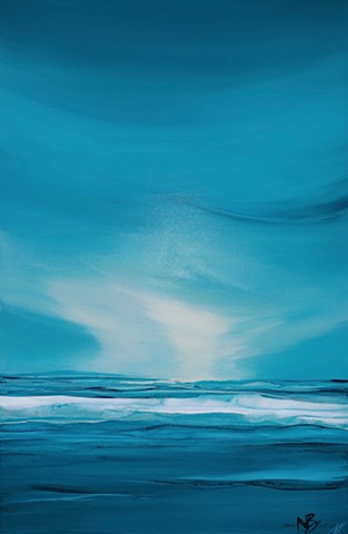 Kelowna Abstract Artist seascape ocean blue teal water artwork abstract soothing calming horizon sea