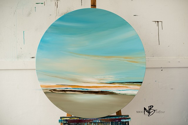 Kelowna abstract artist round canvas soft colour palette beach soft blue sunlight