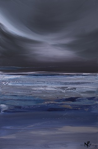 Kelowna Abstract Artist dark moody stormy purple grey charcoal artwork sea seascape ocean painting