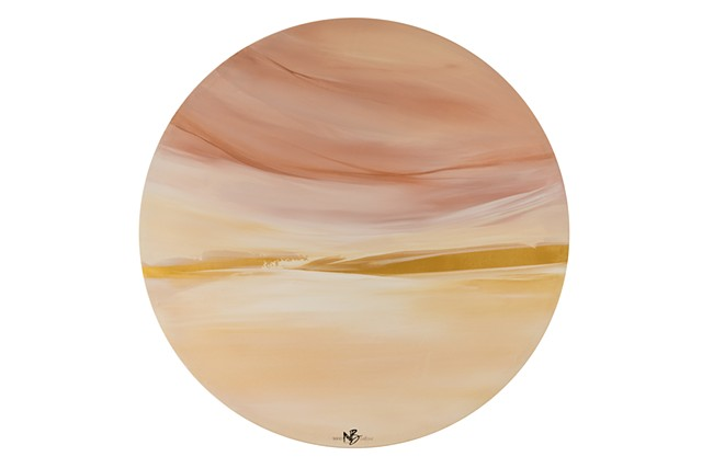 Kelowna abstract artist round canvas soft pink peach gold colour palette
