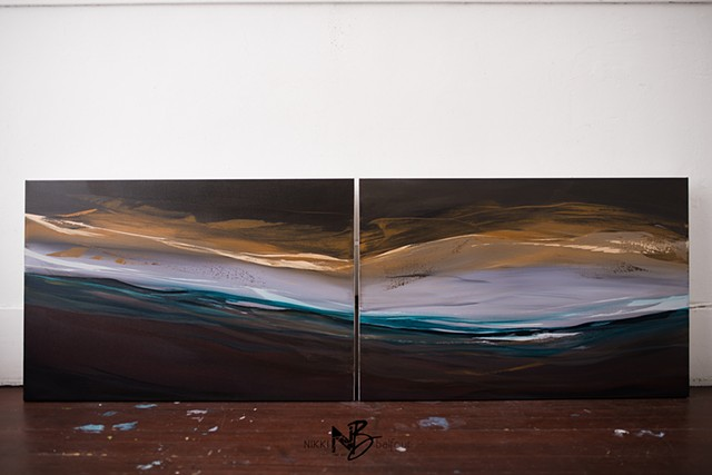 Kelowna abstract artist diptych painting on canvas living room original blues seascape ocean golden light horizontal artwork diptych mahogany gold original abstract expressionism dark artwork series statement art
