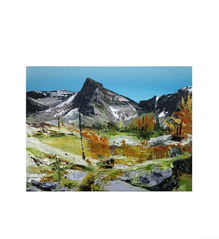 Kelowna Abstract Artist mountain terrain hiking painting landscape autumn rocks BC