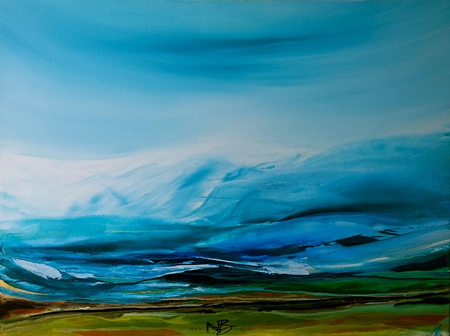 Kelowna Abstract Artist blues bright bold seascape