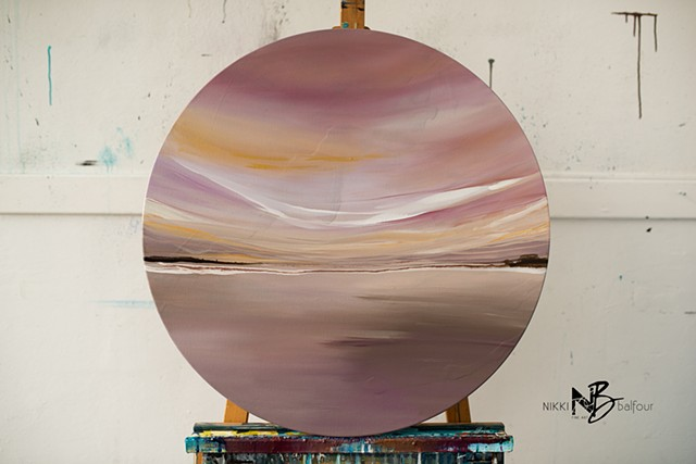 Kelowna abstract artist round canvas soft dusty rose gold colour palette