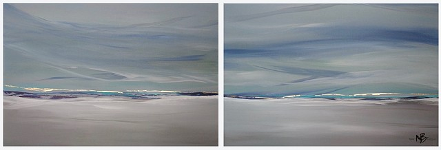 Kelowna Abstract Artist soft blues ocean seascape greys