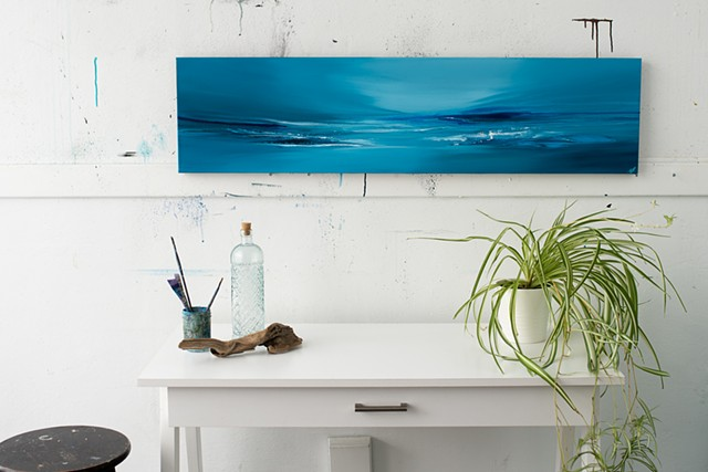 Kelowna Abstract Artist blues ocean wave surf art horizon line light glow teal blues original artwork painting dusk sea