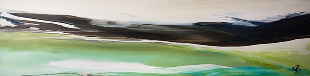 Kelowna abstract artist greens lime rust brown collection