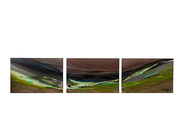 Kelowna abstract art original greens lime rust triptych series collection