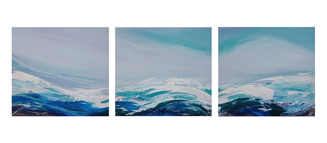 Kelowna Abstract Artist triptych seascape waves water