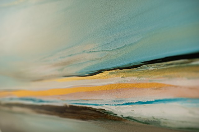 Kelowna abstract artist round canvas seascape horizon line light glow teal blues golden original artwork painting