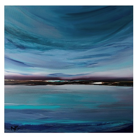 Kelowna Abstract Artist blue ocean purple sky surf art